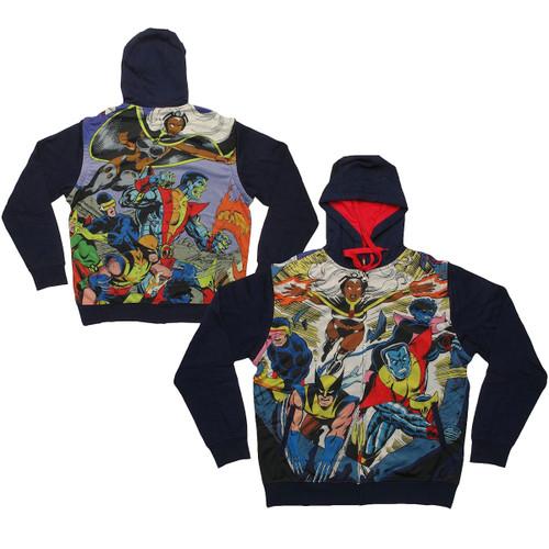 X Men Group Blast Sublimated Overlay Convertible Vest Hoodie