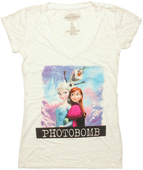 Frozen Photobomb Burnout V Neck Baby Tee