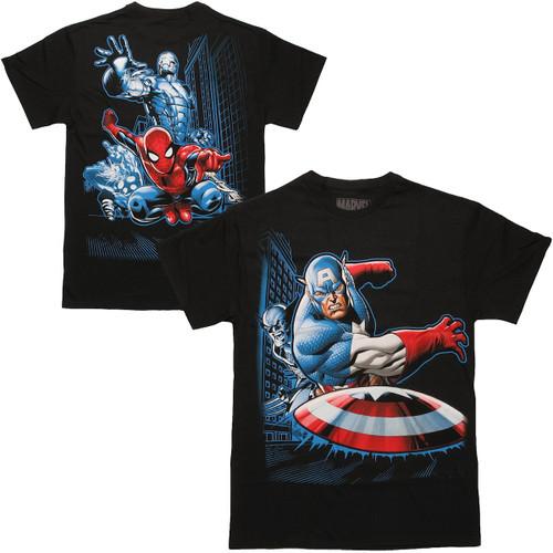 Avengers Group Break Two Sided T Shirt