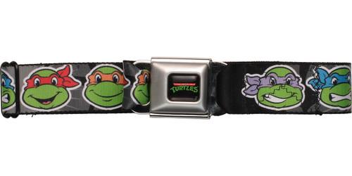 Ninja Turtles TMNT Faces Black Seatbelt Mesh Belt