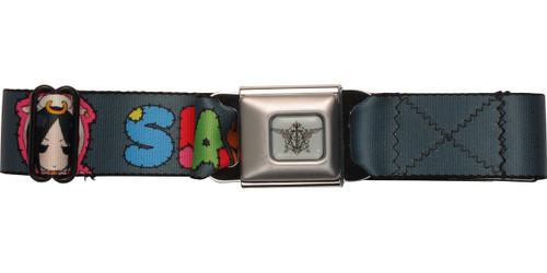 Black Butler Sebastian Stitched Letters Gray Seatbelt Mesh Belt