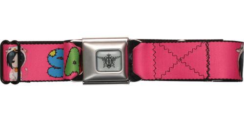 Black Butler Sebastian Stitched Letters Pink Seatbelt Mesh Belt