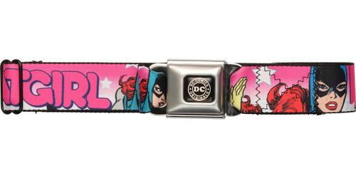 Batgirl Stars Pink Seatbelt Belt
