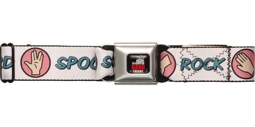 Big Bang Theory Rock Paper White Seatbelt Belt