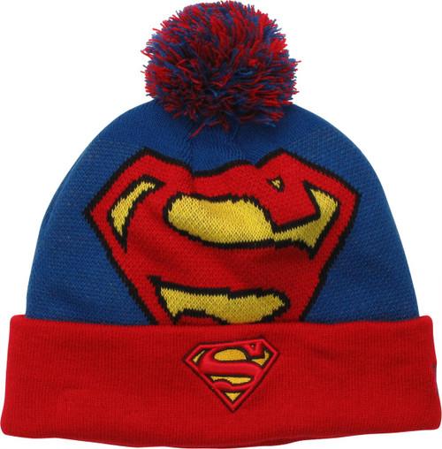 Superman Logo Cuff Pom Beanie