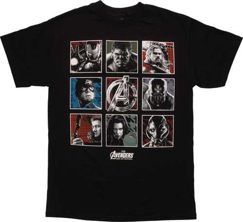 Avengers Age of Ultron Cast Squares T-Shirt