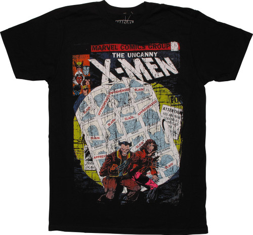 X Men Uncanny Cover Distressed T Shirt Sheer