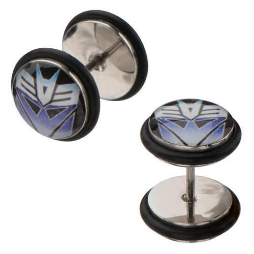 Transformers Decepticon Steel Faux Plug Earrings