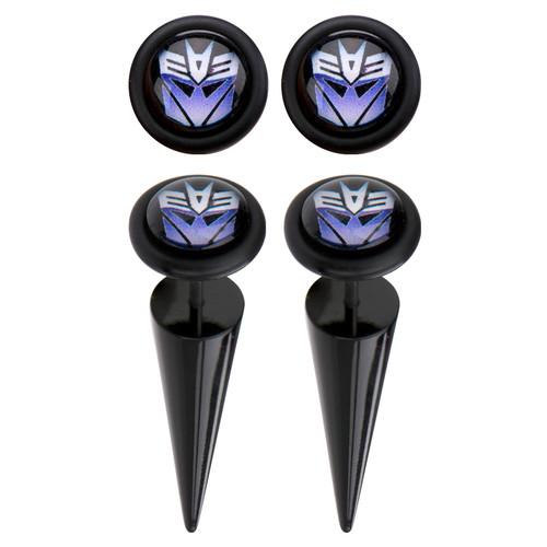 Transformers Decepticon Faux Taper Earrings