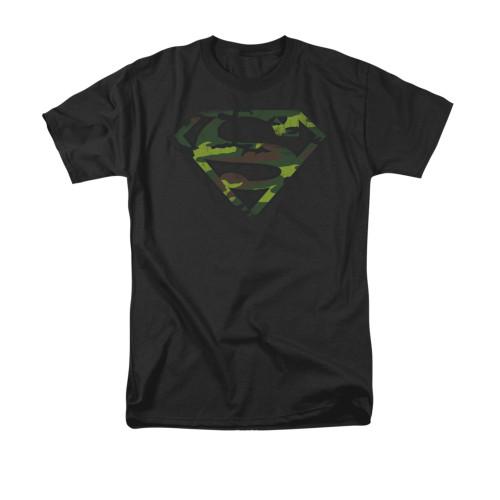 Superman Distressed Camo Shield T Shirt
