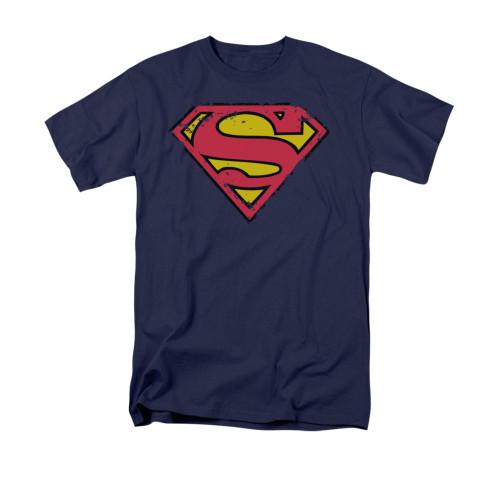 Superman Distressed Shield Navy T Shirt