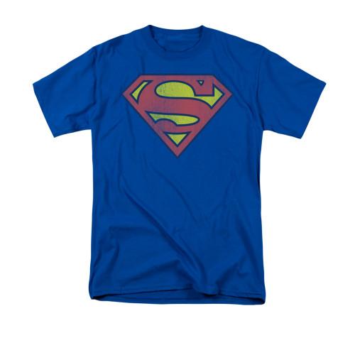 Superman Retro Logo Distressed Royal T Shirt