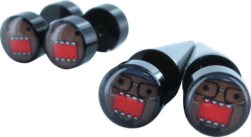 Domo Kun Faux Plugs and Tapers Earrings Set