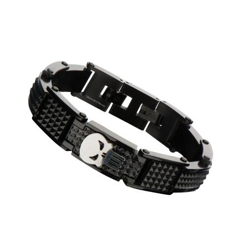 Punisher Skull Black Stainless Steel Bracelet