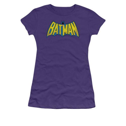 Batman Vintage Logo Purple Juniors T Shirt