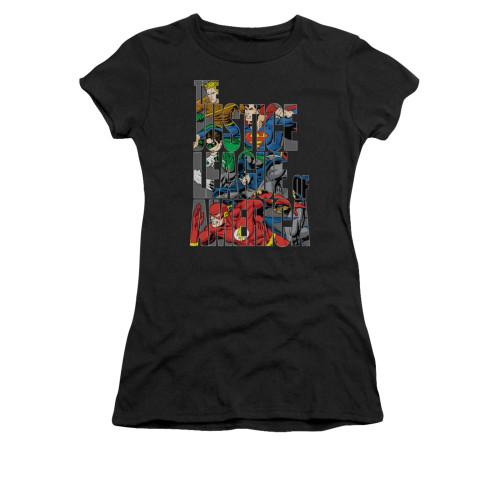 Justice League Lettered League Juniors T Shirt