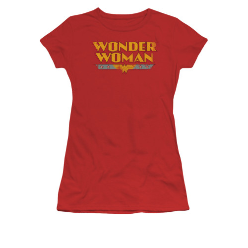 Wonder Woman Name Logo Vintage Juniors T Shirt