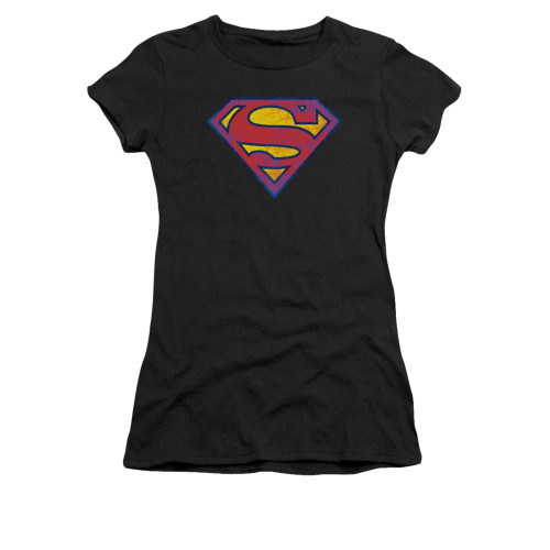 Superman Sm Neon Distress Logo Juniors T Shirt