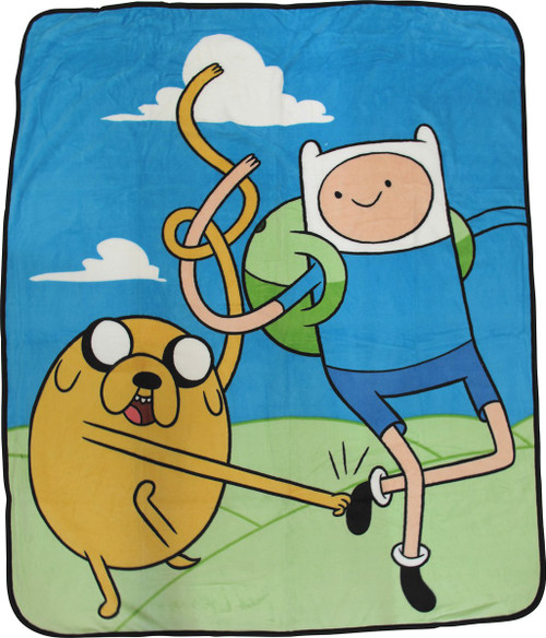 Adventure Time Jake and Finn Raschel Throw Blanket