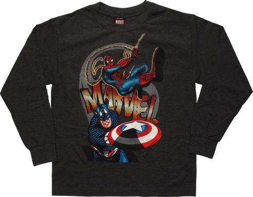 Avengers Spid Cap Shield Long Sleeve Youth T Shirt