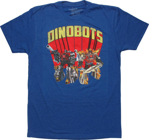 Transformers Dinobots Royal Blue T-Shirt Sheer