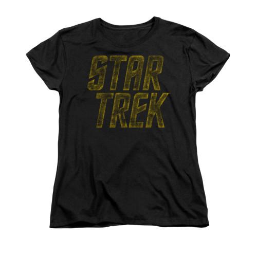 Star Trek Distressed Logo Ladies T Shirt