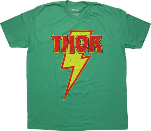 Thor Name on Bolt Distressed Green T-Shirt