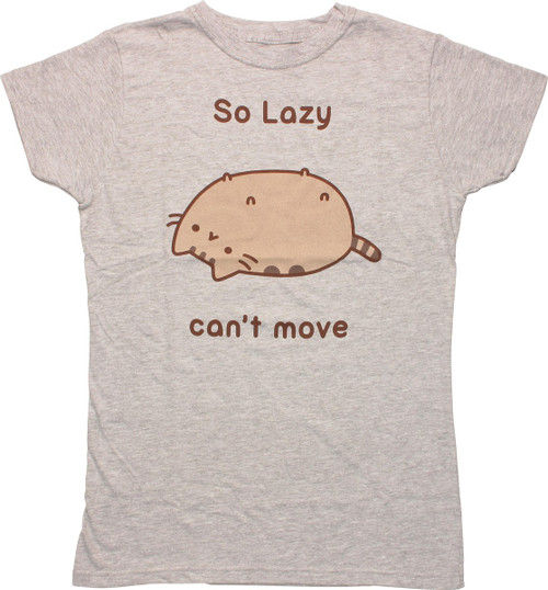 Pusheen the Cat So Lazy Can't Move Juniors T-Shirt