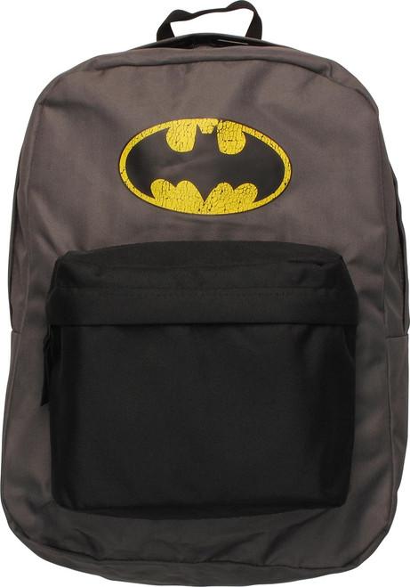Batman Distressed Logo Gray Backpack
