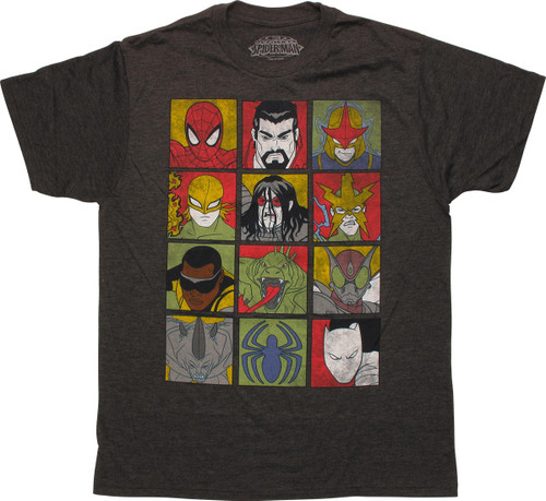 Spiderman Ultimate Character Squares T-Shirt Sheer
