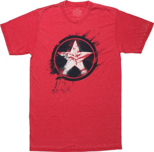 Captain America Painted Shield T-Shirt Sheer