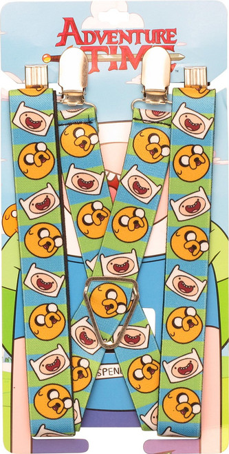 Adventure Time Heads Stripes Suspenders