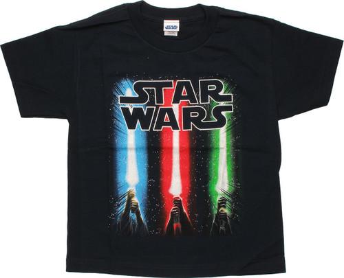 Star Wars Lightsaber Trio Black Youth T Shirt
