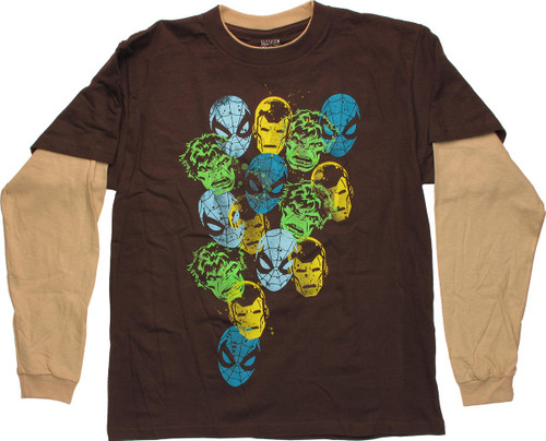 Avengers Stamps Brown Long Sleeve Youth T Shirt