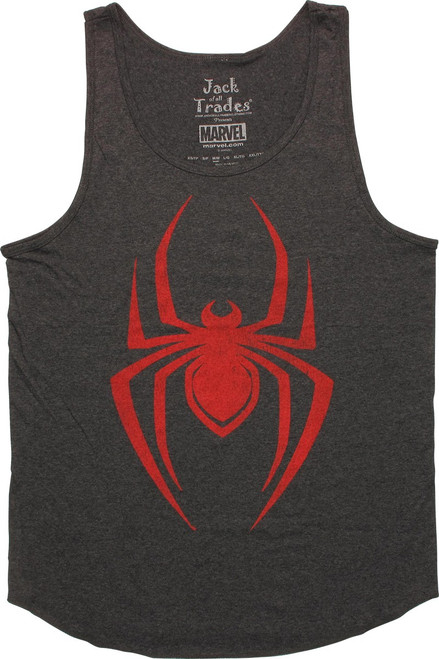 Spiderman Red Spider Logo Charcoal Tank Top