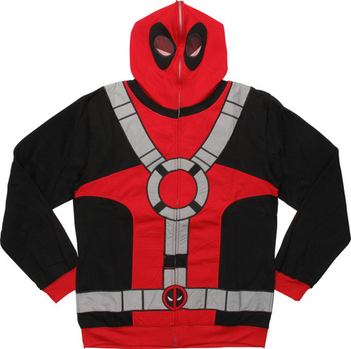 Deadpool Deluxe Suit Up Face Zip Hoodie