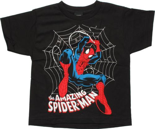 Spiderman Over Foil Web Black Juvenile T Shirt