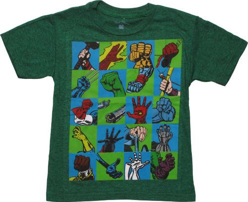 Marvel Hero Hands Juvenile T-Shirt