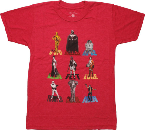 Star Wars Characters and Names Youth T-Shirt