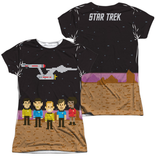 Star Trek TOS Pixel Crew FB Sub Juniors T Shirt