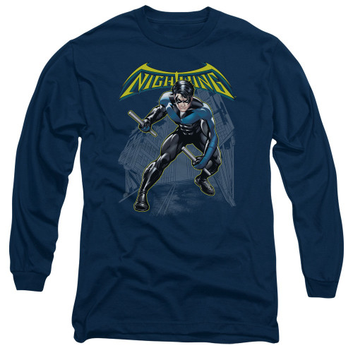 Nightwing Under Logo Long Sleeve T Shirt