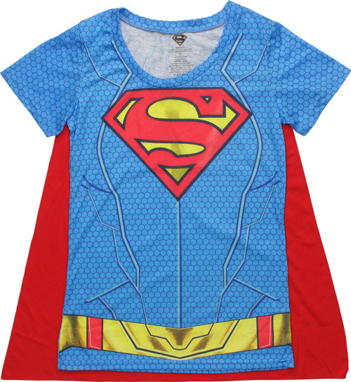 Supergirl Sublimated Logo Cape Juniors T-Shirt