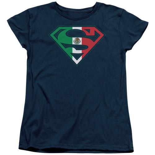 Superman Mexican Flag Navy Ladies T Shirt