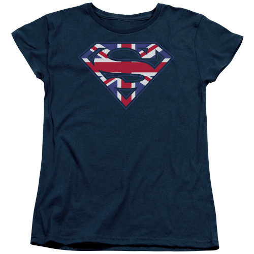 Superman Union Jack Ladies T Shirt