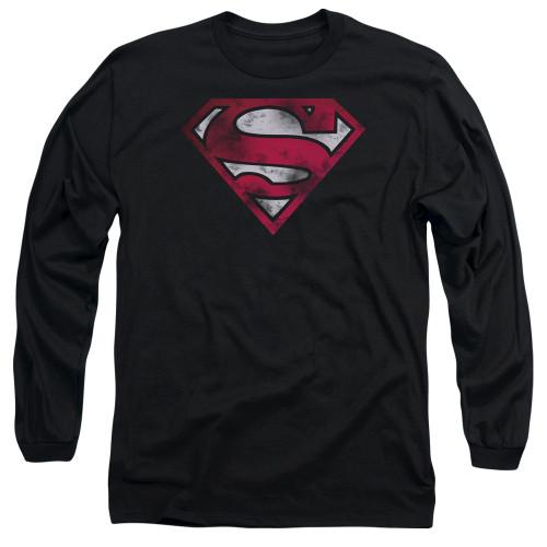 Superman Worn Logo Long Sleeve T Shirt
