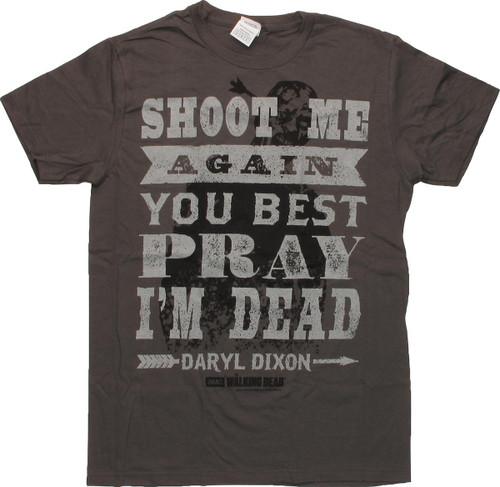Walking Dead Pray Dead Words T-Shirt