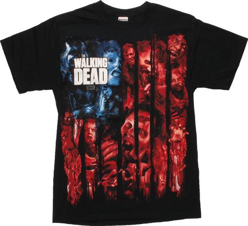 Walking Dead Color Zombies Flag T-Shirt