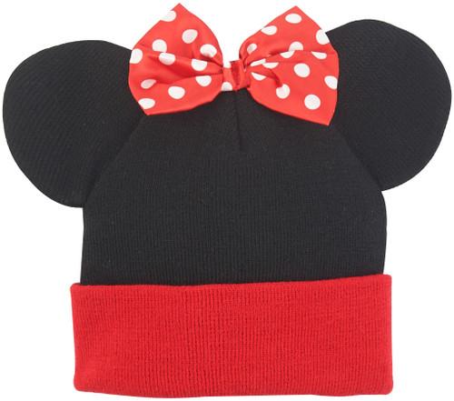 Minnie Mouse Ears Bow Cuff Beanie