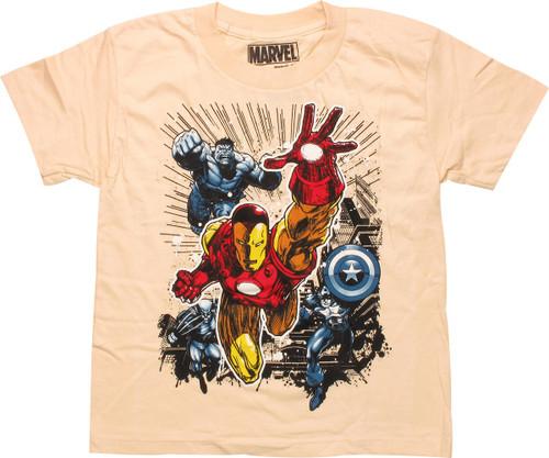 Avengers Heroes City Beige Juvenile T-Shirt