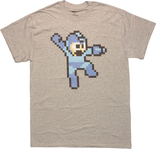 Mega Man 8-Bit Jump Gray T-Shirt